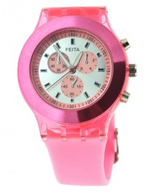 Montre femme silicone rose
