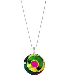Collier disque multicolore