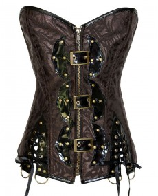Corset gothique marron simili