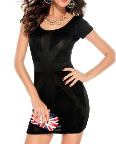 "Robe bodycon noir ""England"""