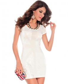 "Robe bodycon blanc ""England"""