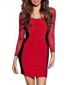 Robe sexy bodycon avec lisseret rouge