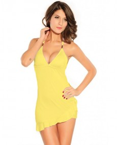 Décolté yellow sexy dress with ring in the back