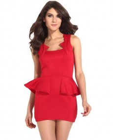 Robe peplum rouge