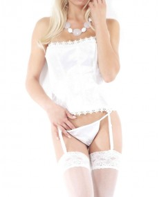 "Corset bustier Push up ""P'tite lady"" blanc"