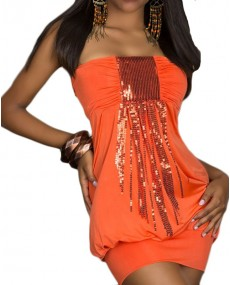 Bustier top orange avec paillette