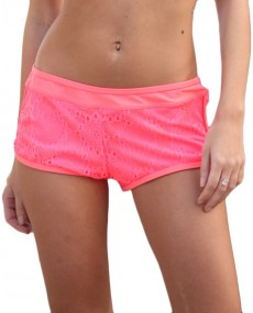 Short maillot court rose corail fluo
