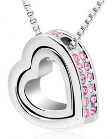 Collier pendentif double coeur cristal rose strass amour avec chaine