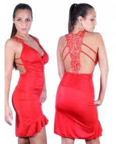 Red long dress with lace up back