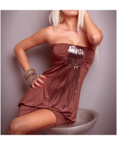 Bustier top marron avec paillette